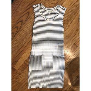 MONTEAU | Stretchy Beige & Black Striped Dress XS